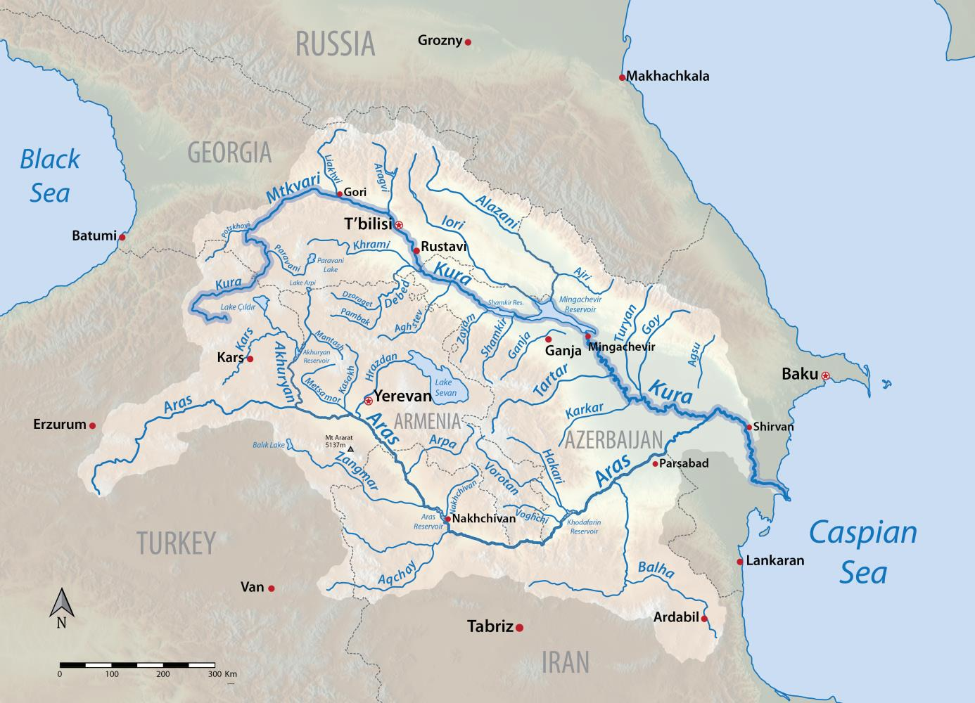 Map of the Kura (Mtkvari) - Aras river system in Armenia, Azerbaijan, Georgia, Iran and Turkey. Shaded relief data from US Geological Survey.